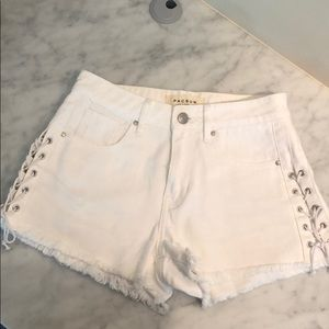 White PacSun High Rise Lace up shorts